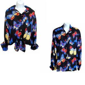 Vintage May Ann Silk Button-down Top Shirt Size XL